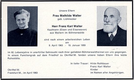 Parte jeho rodičů, pochovaných v Okriftel, což je část hesenského města Hattersheim am Main