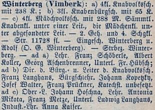 """Tady je jmenován v německé části popisu školních okresů Čech z roku 1884 jako učitel měšťanské školy ve """"Vimberku"""""""