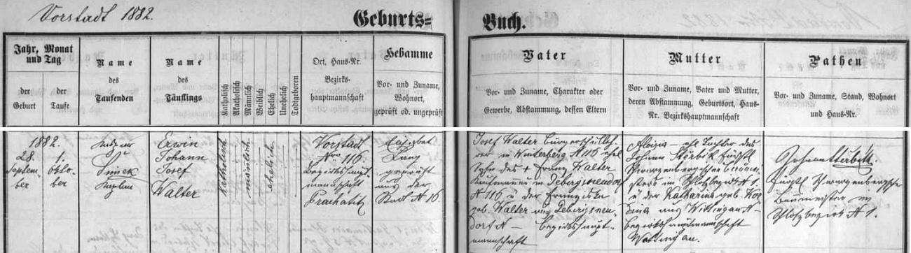 Tento zápis o narození Walterova syna Erwina Johanna Josefa je památný i tím, že na něm nacházíme podpis otce novorozencovy matky a zároveň i Erwinova kmotra Johanna Stěrbíka (čti Štěrbíka), muže, který 2. prosince roku 1874 skolil na Světlé hoře posledního údajně šumavského vlka