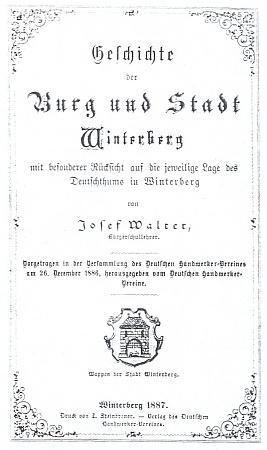 Obálka jeho knihy (1887) Dějiny hradu a města Vimperka