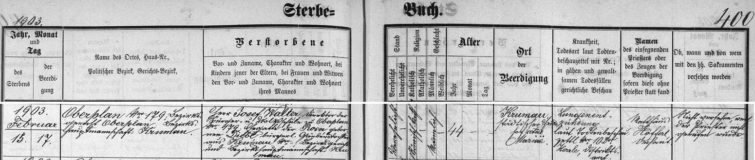 Takto zaznamenává hornoplánská úmrtní matrika datum a okolnosti jeho skonu