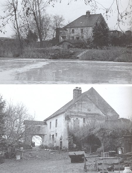 Zdevastovaná tvrz ve Vracově (plánek obce i s majiteli viz Josef Waldinger)