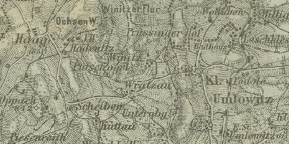 Na starých mapách najdeme nedaleko Vracova samotu Putschogel