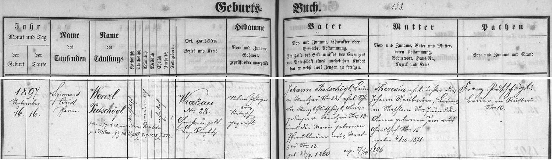 Záznam křestní matriky farní obce Omlenice o narození matčina otce s pozdějším přípisem o jeho svatbě