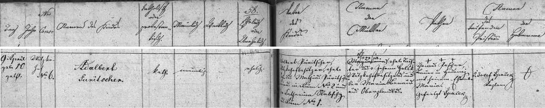 Záznam kaplické křestní matriky o narození Adalberta Puritschera na stavení Witzkohof zřejmě v zaniklých dnes Jermalech