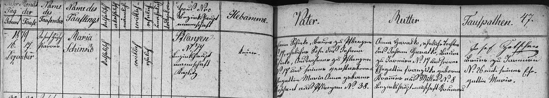 Záznam křestní matriky farní obce Blansko o narození Adalbertovy ženy Marie, roz. Schinko