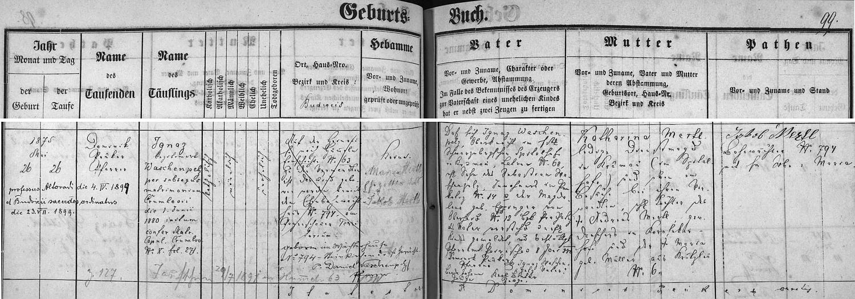 Záznam o jeho narození v křestní matrice Boršova nad Vltavou