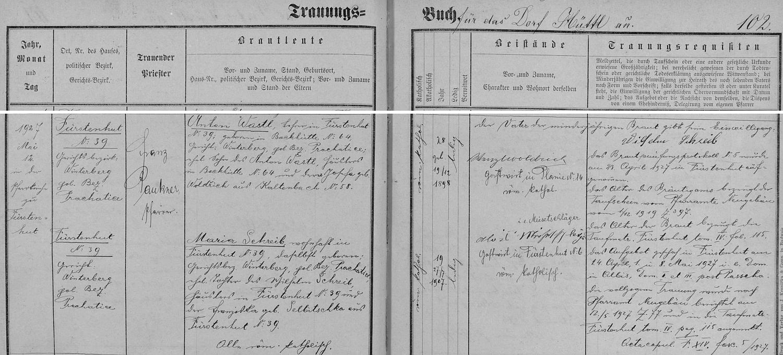 Záznam o jeho svatbě v Knížecích Pláních v tamní knize oddaných