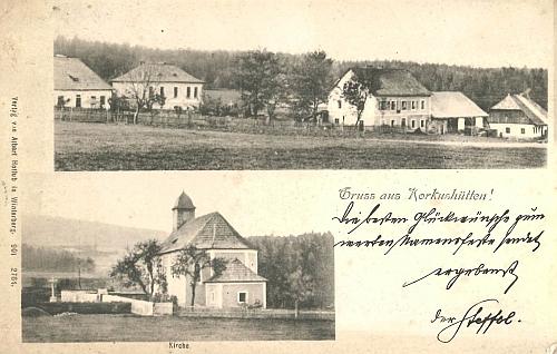 Stará pohlednice Korkusovy Huti zachycuje i školu (druhá budova zleva)
