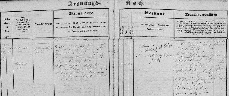 Záznam o svatbě jeho rodičů v boletické oddací matrice, z něhož vysvítá, že ženich byl o 14 let starší než jeho nevěsta ze dnes rovněž zaniklých Dolan (Dollern)