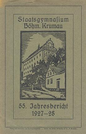 Dvě obálky výročních zpráv německého Státního gymnázia v Českém Krumlově (v budově dnešního muzea) i s jeho vnější podobou na grafikách Felixe Schustera, uvnitř jedné ze zpráv s projevem Wastlovým