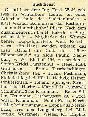 V rubrice hledaných a nezvěstných nacházíme v časopise Hoam! z března 1949 i Wastlovo jméno