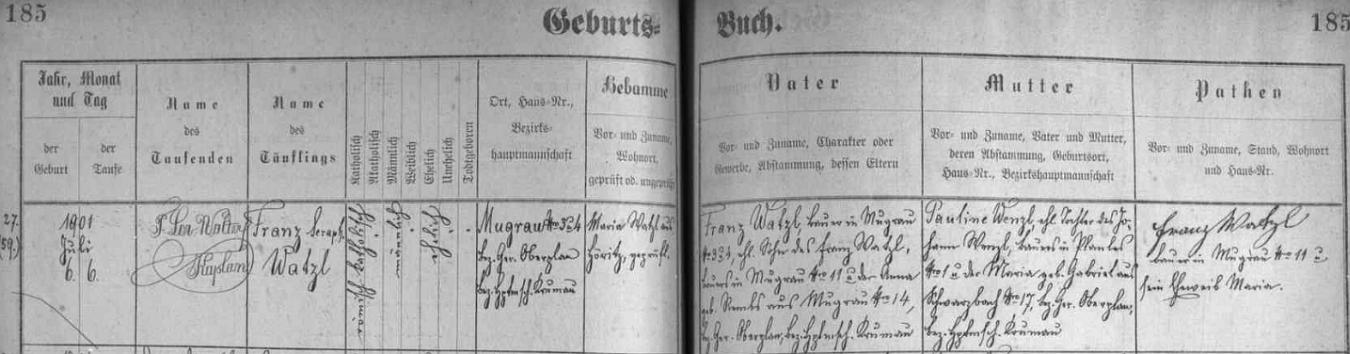 """Záznam o jeho narození a křtu (u křestního jména František se psal tehdy i přídomek, zde """"Serafinský"""") v matrice farní obce Hořice na Šumavě"""