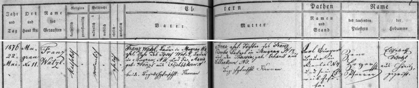 Záznam o narození a křtu otcově v matrice farní obce Hořice na Šumavě