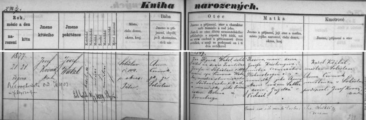 Záznam soběslavské křestní matriky o jeho narození