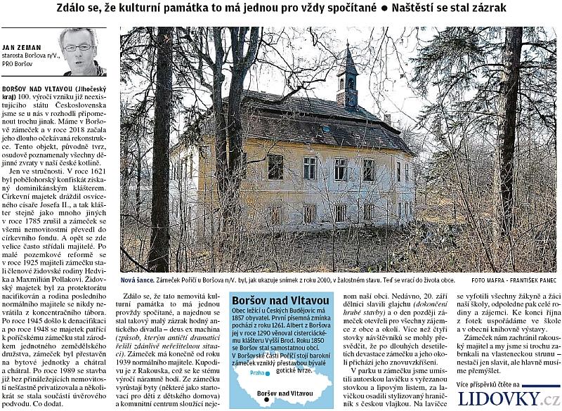Původní tvrz, později zámeček z daru dominikánského kláštera v Českých Budějovicích, o němž je ve Watzlově textu řeč, se má jakoby zázrakem dožít obnovy (viz i Eduard von Claudi)