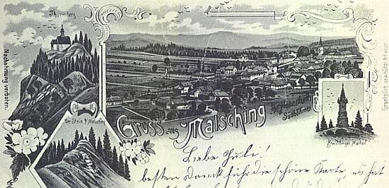 Pozdrav z Malšína z doby kolem roku 1900