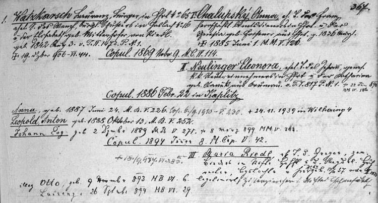 Podle rodového katastru vyšebrodské matriky narodil se Otto Watzkarsch ve třetím manželství Laurenze Watzkarsche (syna Wenzla Watzkarsche, krejčího v Haslachu čp. 16 a Elisabeth, roz. Mitterdorferové z Riedlu, také v Horních Rakousích) s Marií Riedlovou
