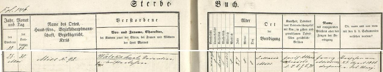 Záznam stříbrské úmrtní matriky o jeho skonu