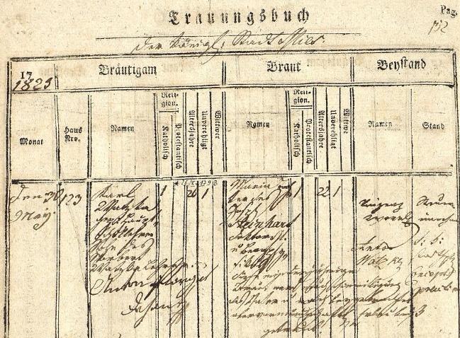 Záznam stříbrské oddací matriky o jeho prvé zdejší svatbě