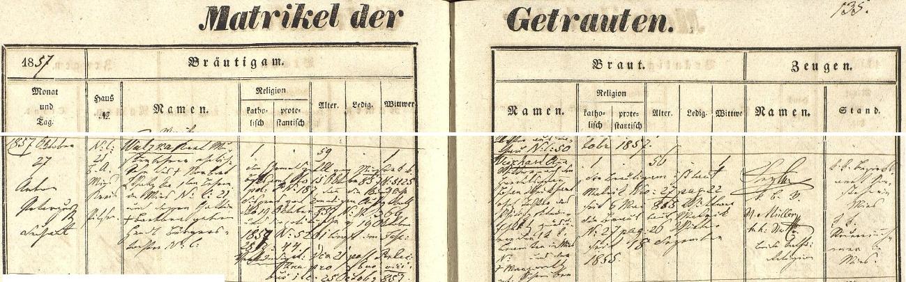 Záznam stříbrské oddací matriky o jeho druhé zdejší svatbě