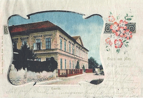 Pohlednice ze Stříbra, kterou vydala zdejší firma Victora Reindla, s motivem zdejšího konviktu