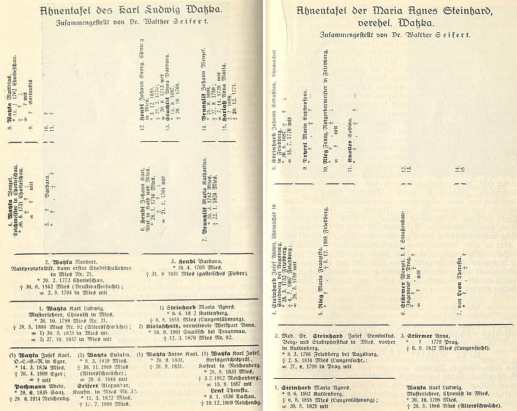 Rodokmen Karla Ludwiga Watzky a jeho ženy Marie Agnes
