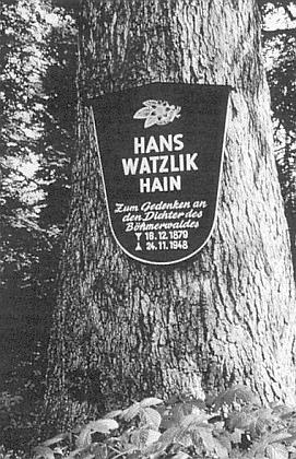 Někdejší pamětní tabule na jedné z jedlí Watzlikova háje