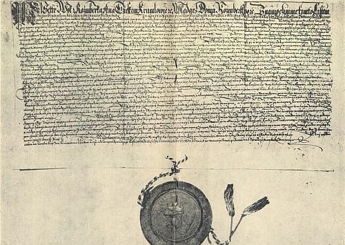 Petr Vok z Rožmberka potvrzuje 30. ledna 1596 česky psanou listinou výsady a práva městečka Dolní Dvořiště