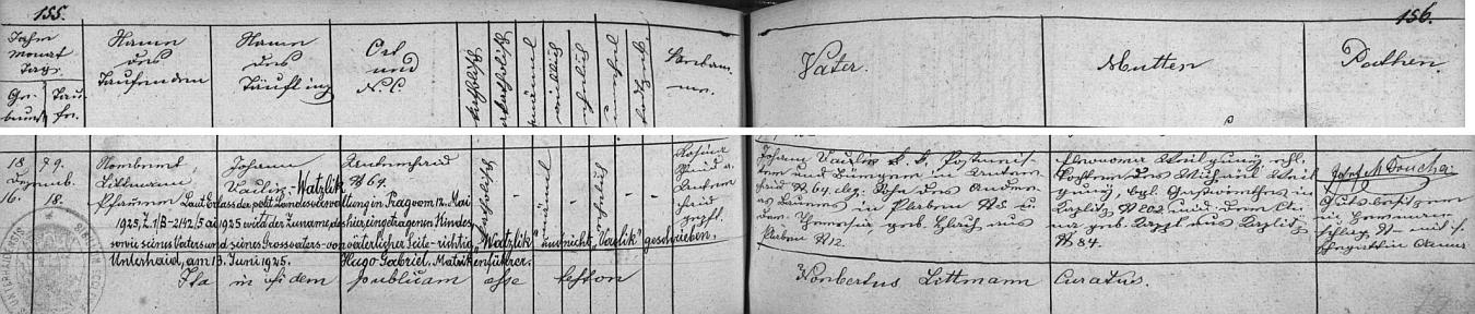 """Záznam z matriky rodného Dolního Dvořiště podává svědectví jak o původu otcově po rodičích z Plava, tak o změně psaní příjmení """"podle výnosu politické zemské správy z května 1925"""" na """"Watzlik"""" a ne """"Vaclik"""" """"u dítěte, jeho otce i jeho dědečka z otcovy strany"""""""