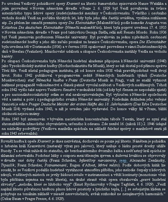 Několik odstavců ze stránek Českého hudebního slovníku, týkající se opery na Watzlikovo libreto a autora její hudby