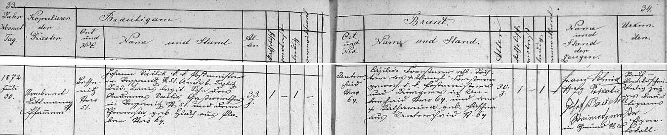 Záznam o prvé svatbě otcově, který byl tehdy třiatřicetiletým poštmistrem v Besednici čp. 51 (jeho otec Andreas /Ondřej/ byl v témže stavení hostinským), s Cäzilií Forstnerovou, jejíž zesnulý otec Wenzl Forstner poštmistroval v Dolním Dvořišti - Johann Václik, jak je tu psán, vykonával tu službu v Dolním Dvořišti později také a po zdejším úmrtí své druhé ženy Marie, zesnulé ve věku 28 let na souchotiny, přivedl si sem ze Solnohradska svou třetí ženu Eleonoru, rodačku z Kaplice, která si ho vzala osmnáctiletá jako vdovce o dvacet let staršího