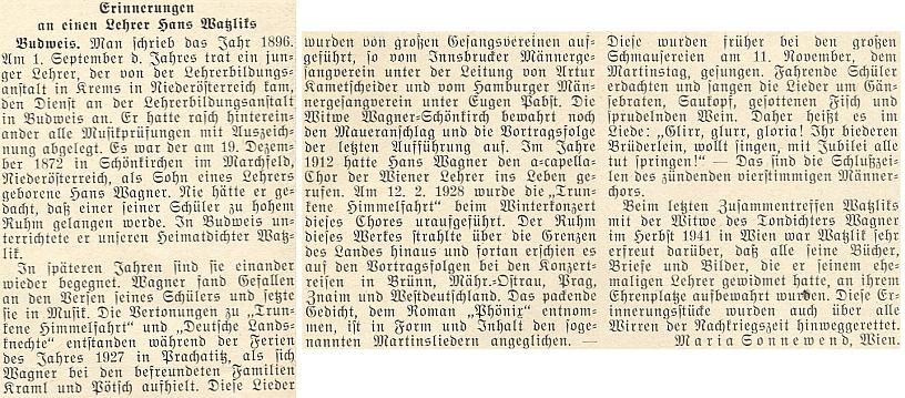 Vzpomínku na Hanse Wagnera-Schönkircha napsala do krajanského časopisu Maria Sonnewendová