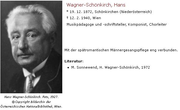 Hans Wagner-Schönkirch, Watzlikův učitel na německém učitelském ústavu v Českých Budějovicích, který později zhudebnil některé jeho verše