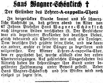 Nekrolog Hanse Wagnera-Schönkircha vevídeňském tisku