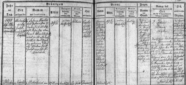 Záznam o otcově třetí svatbě v kaplické oddací matrice