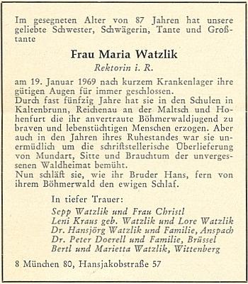 Parte na stránkách krajanského měsíčníku se jmény pozůstalých rozvětvené rodiny Watzlikových (někteří žili i ve východním Německu a Belgii)