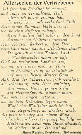 Její báseň o Dušičkách vyhnanců na stránkách listopadového čísla krajanského měsíčníku v roce 1952