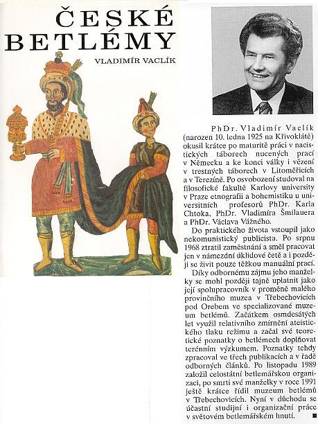 Obálka (1994) a detail záložky práce synovce sourozenců Watzlikových a prezidenta světové betlémářské asociace UN-FOE-PRAE Dr. Vladimíra Vaclíka v pražském nakladatelství Integra