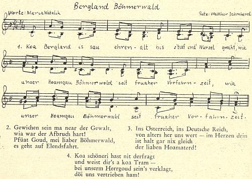 """Píseň """"Bergland Böhmerwald"""" na její slova i s notovým zápisem nápěvu, jehož autorem se stal Walther Dehnherd"""
