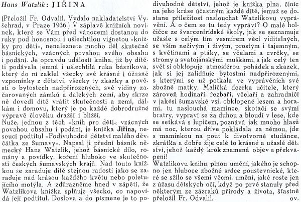 """Recenze na tuto knihu jejího muže (německy vyšla 1935), až osudného roku 1938 napsaná pod šifrou """"ov"""" pro staroříšské Archy"""