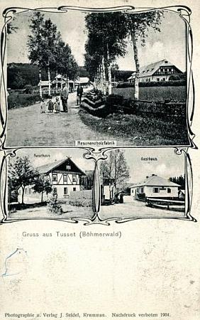"""Jiná starší Seidelova pohlednice """"aus Tusset"""", tj. ze Stožce"""