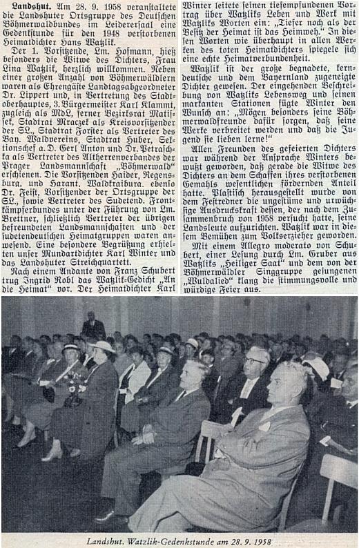 Pamětní shromáždění snad jen náhodou na den sv. Václava, nikoli jen k 10. výročí manželova skonu, konané roku 1958 v bavorském Landshutu za její účasti, jak o něm referoval krajanský měsíčník