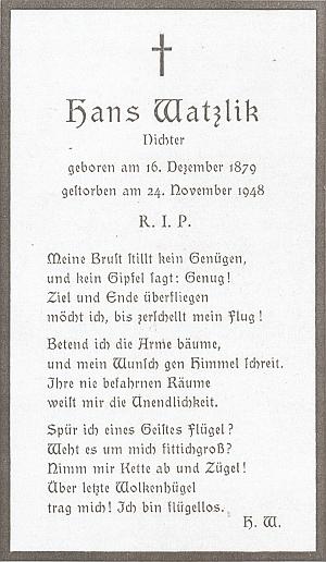 Manželovo parte a úmrtní lístek s jednou z jeho básní