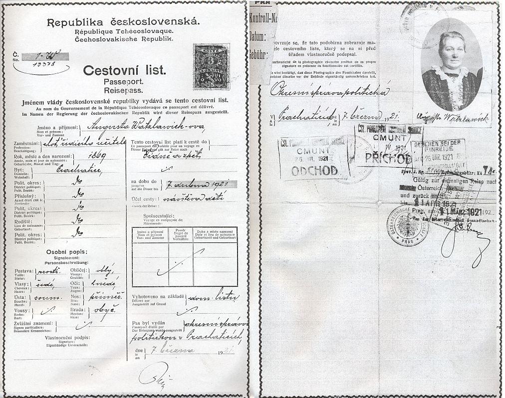 Jeho a ženin cestovní pas