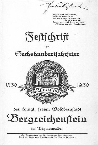 Titulní list (1930) slavnostního sborníku k 600. jubileu města Kašperské Hory s jeho vlastnickým podpisem