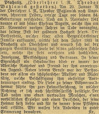 Nekrolog na stránkách budějovického německého listu
