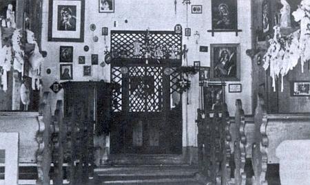 Interiér původní Stožecké kaple na starém snímku