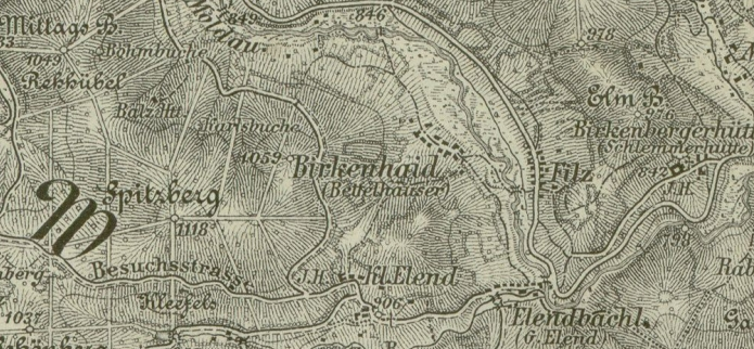 Rodná Březová Lada na staré mapě
