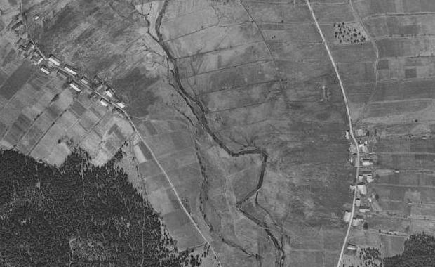 Březová Lada a Slatina na leteckých snímcích z let 1949 a 2008